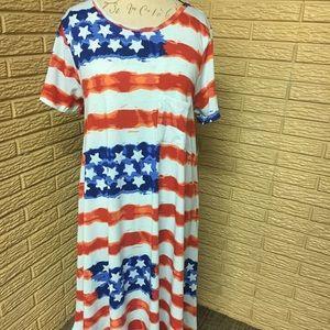 LuLaRoe Americana flag Carly dress XL NWT